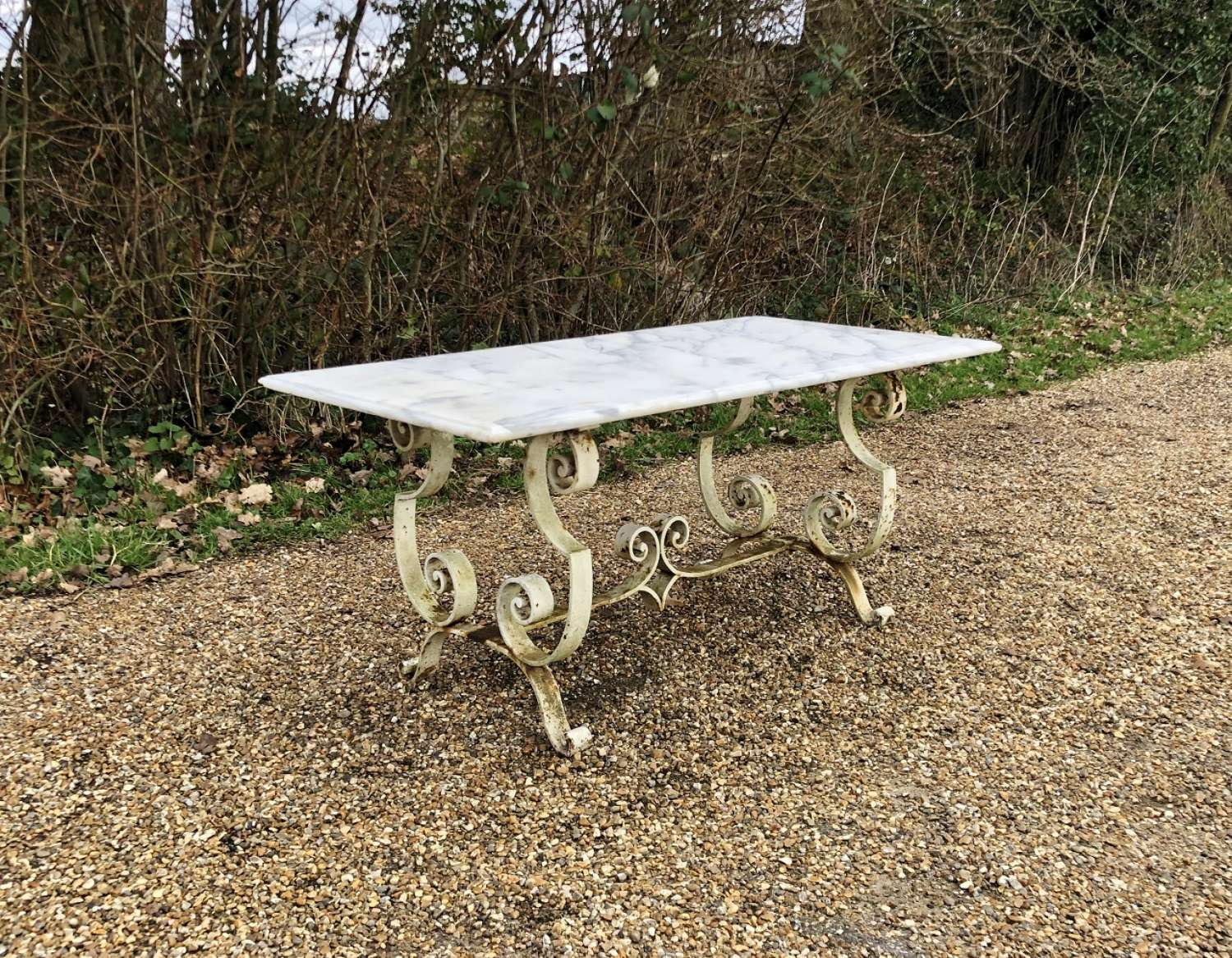 Marble and Wrought Iron Coffee Table