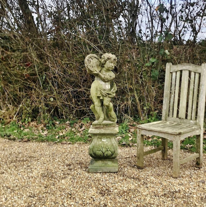 Small Cherub Figure with Pedestal