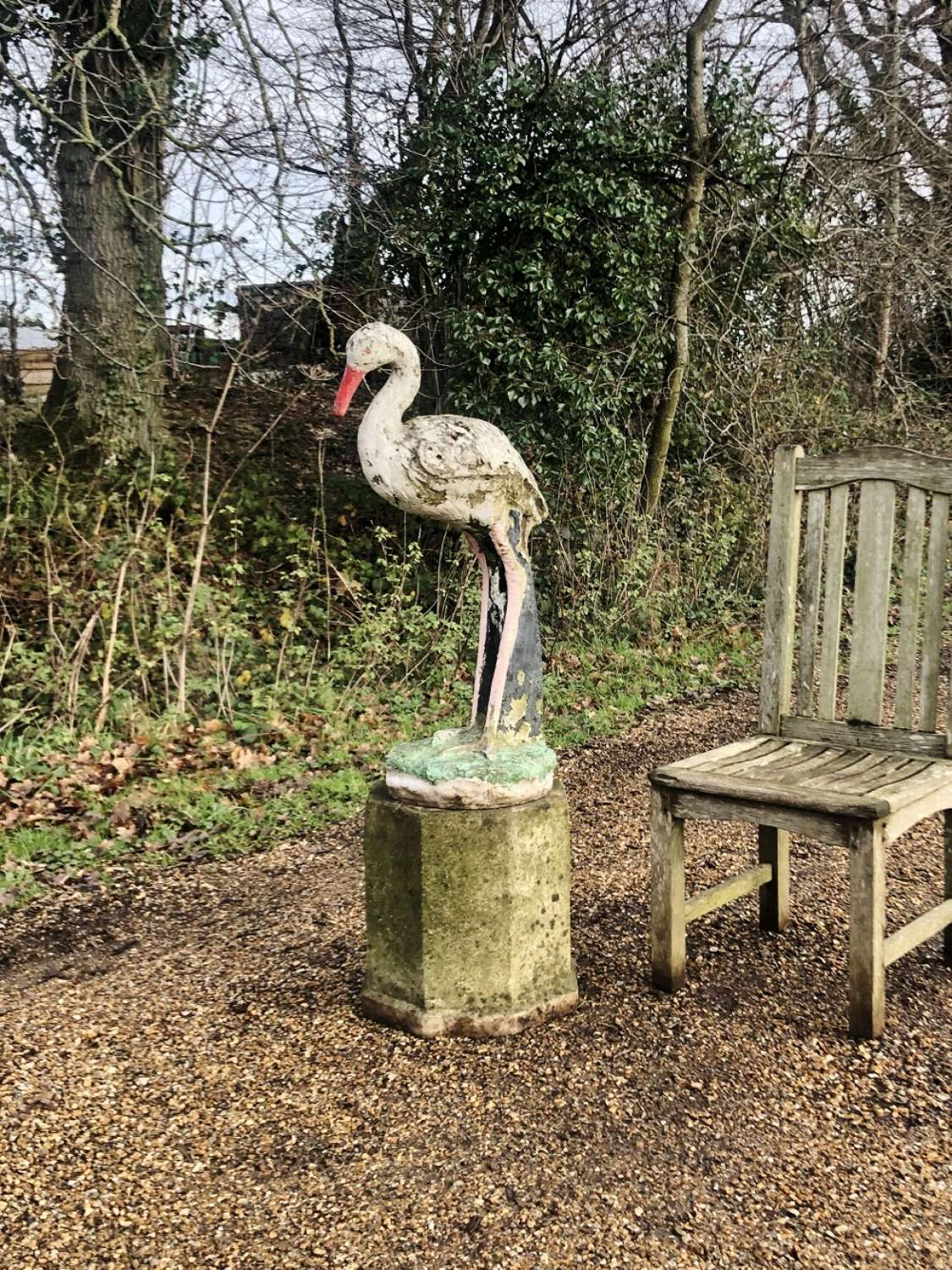 Large Mid-Century Stork and Pedestal