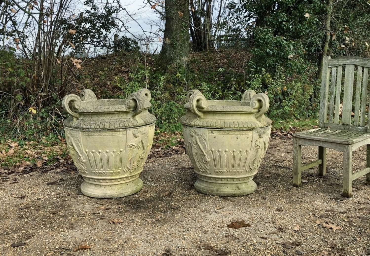 Pair of Large Handled Planters