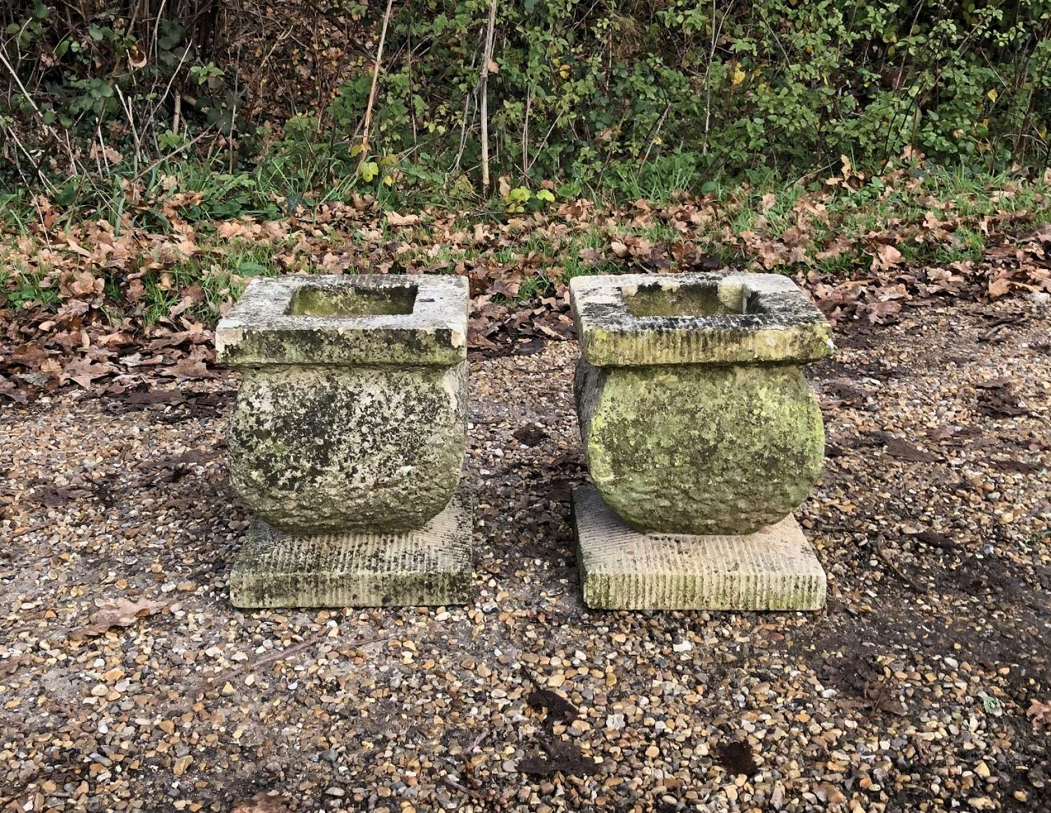 Pair of  Small Carved Stone Planters