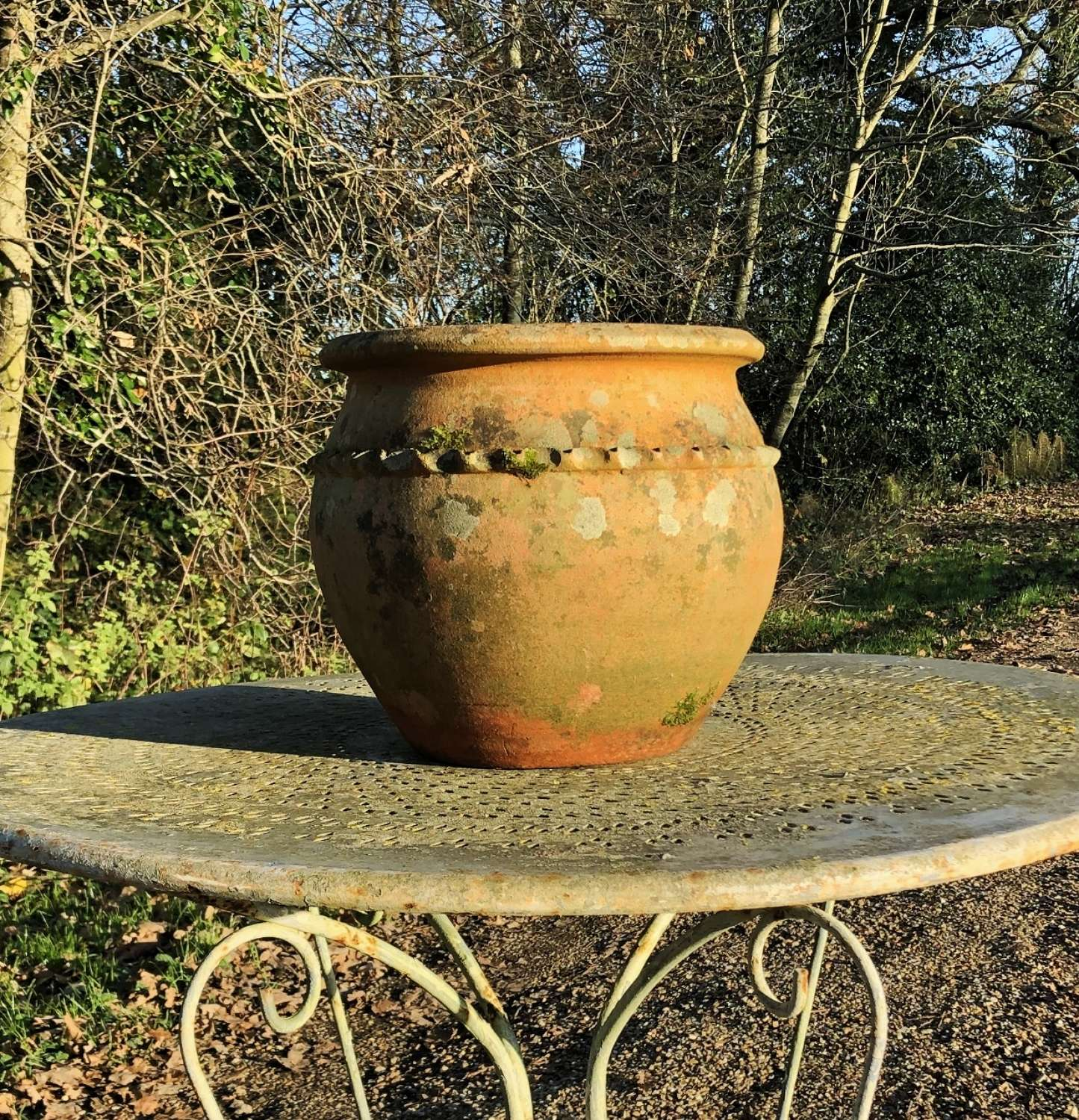 Terracotta Planter with Crimped Decoration