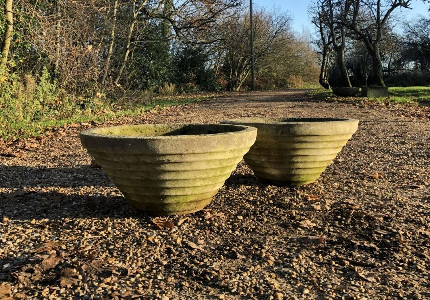 Pair of Ridged Conical Planters