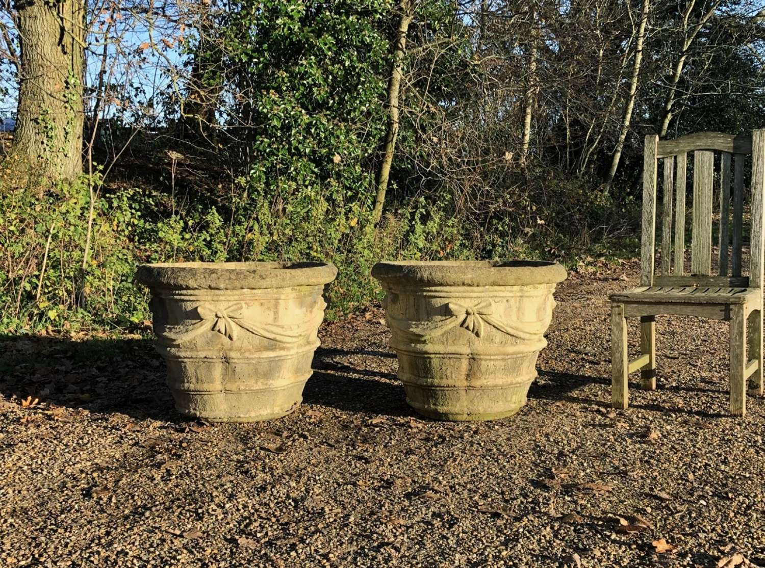 Pair of Large Ribbon Planters