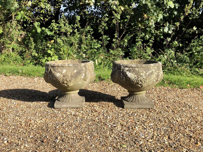 Pair of Lichen Goblet Urns