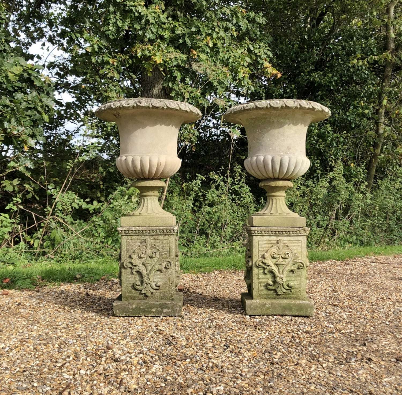 Pair of Campania Urns and Pedestals