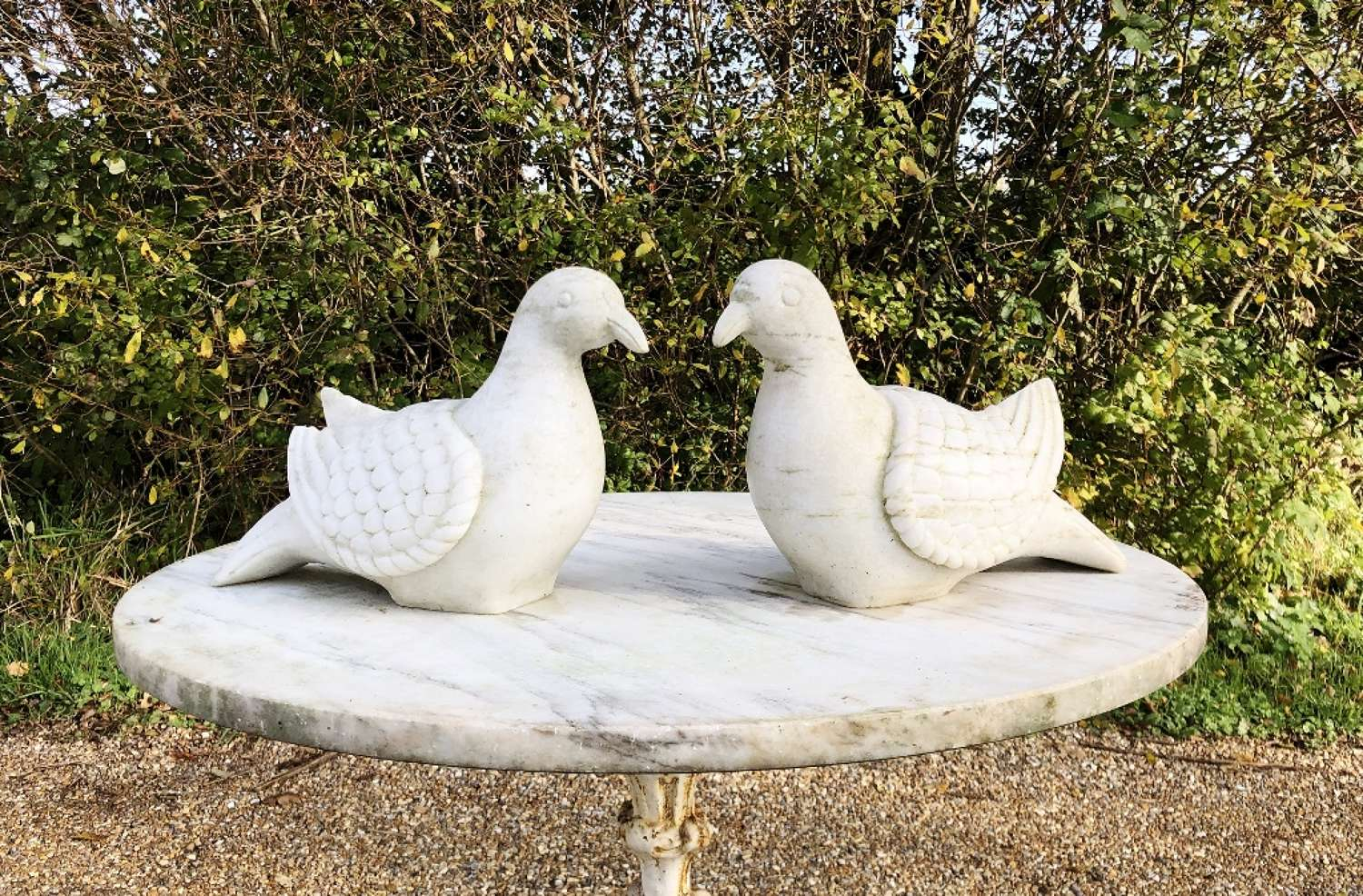 Pair of Life-Size Marble Doves