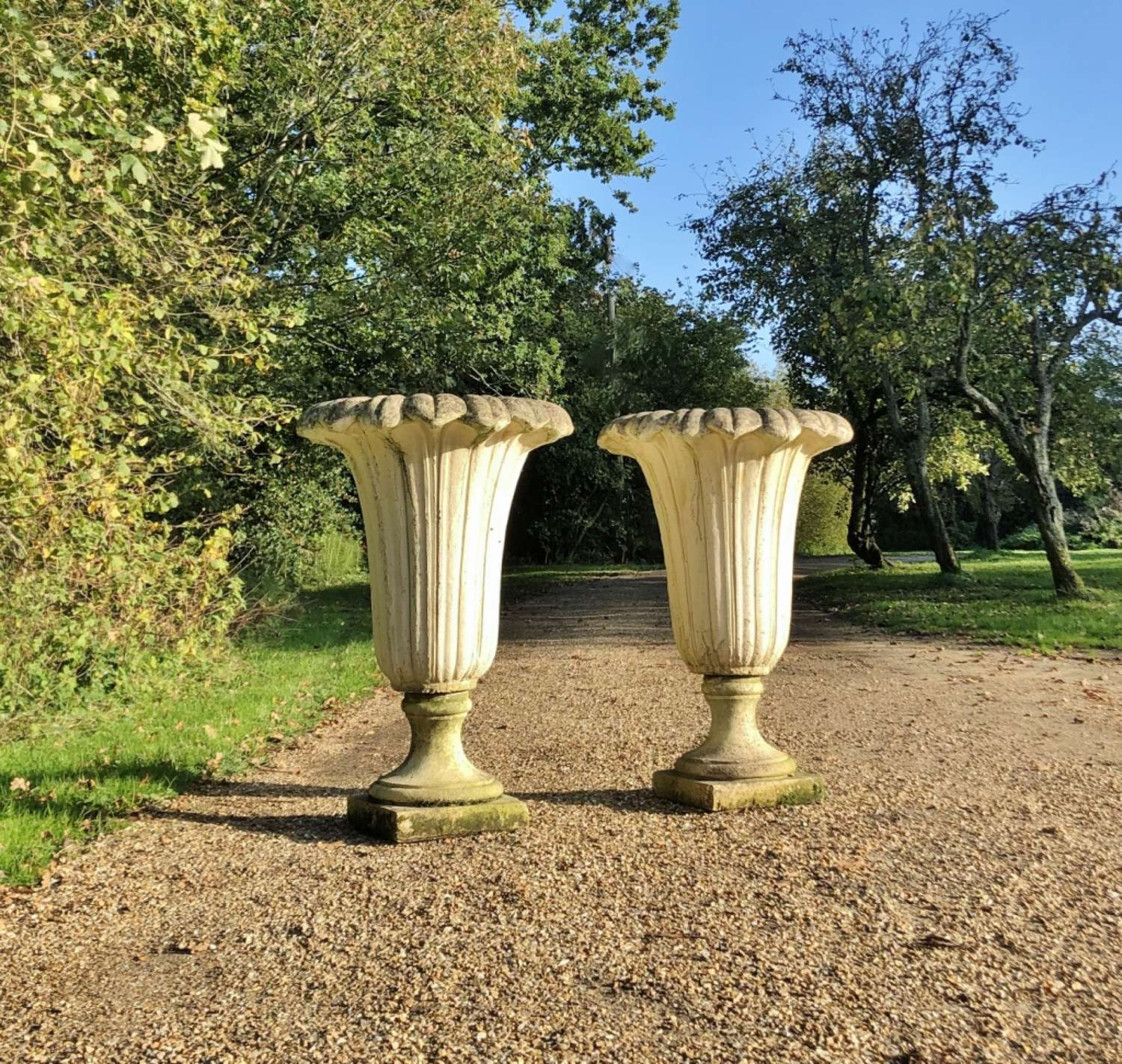 Pair of Large Fluted Urns