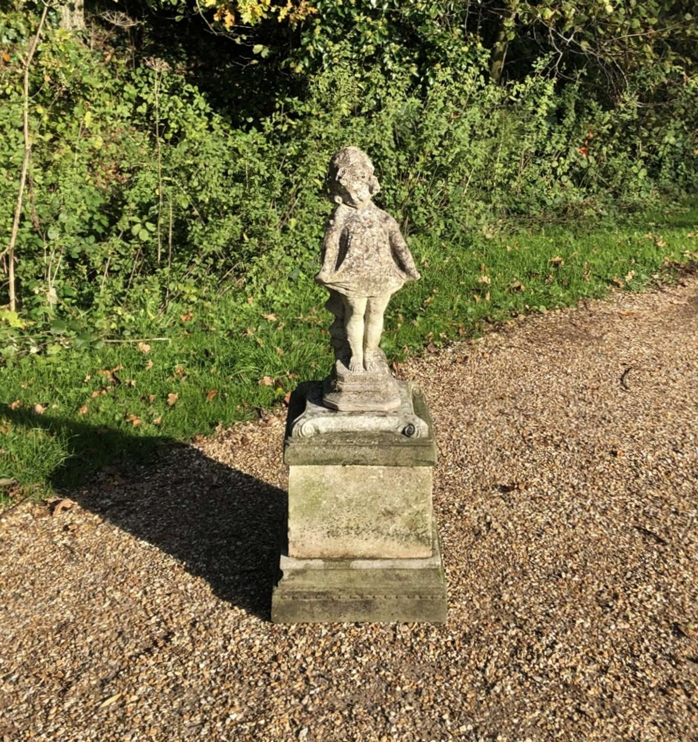 Patinated Girl with Pedestal