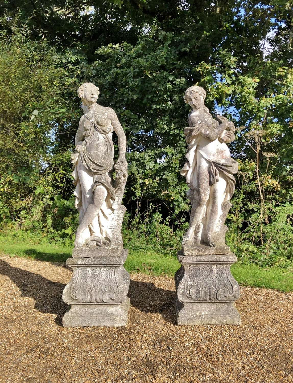 Pair of Patinated Maidens