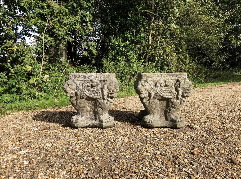 Pair of Lion Planters
