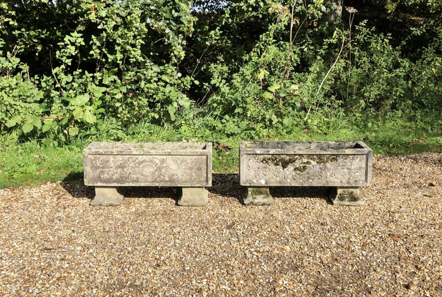 Pair of Patinated Troughs with Feet