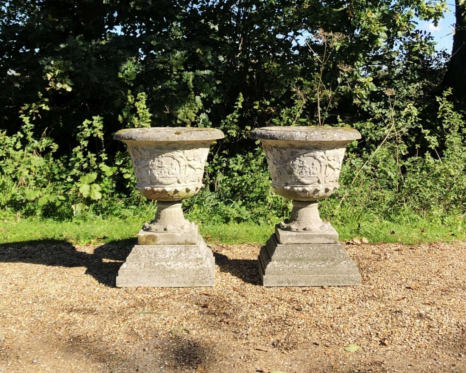 Large French Urns with Plinths