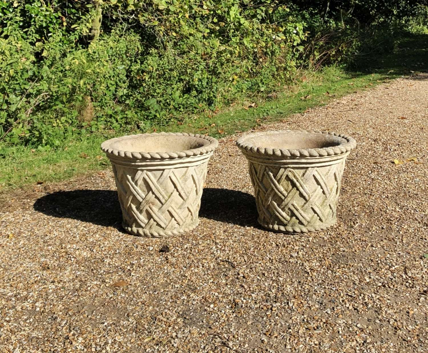 Pair of Lattice Weave Planters