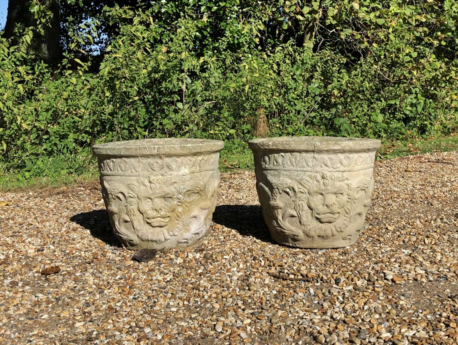 Pair of Small Lion Planters