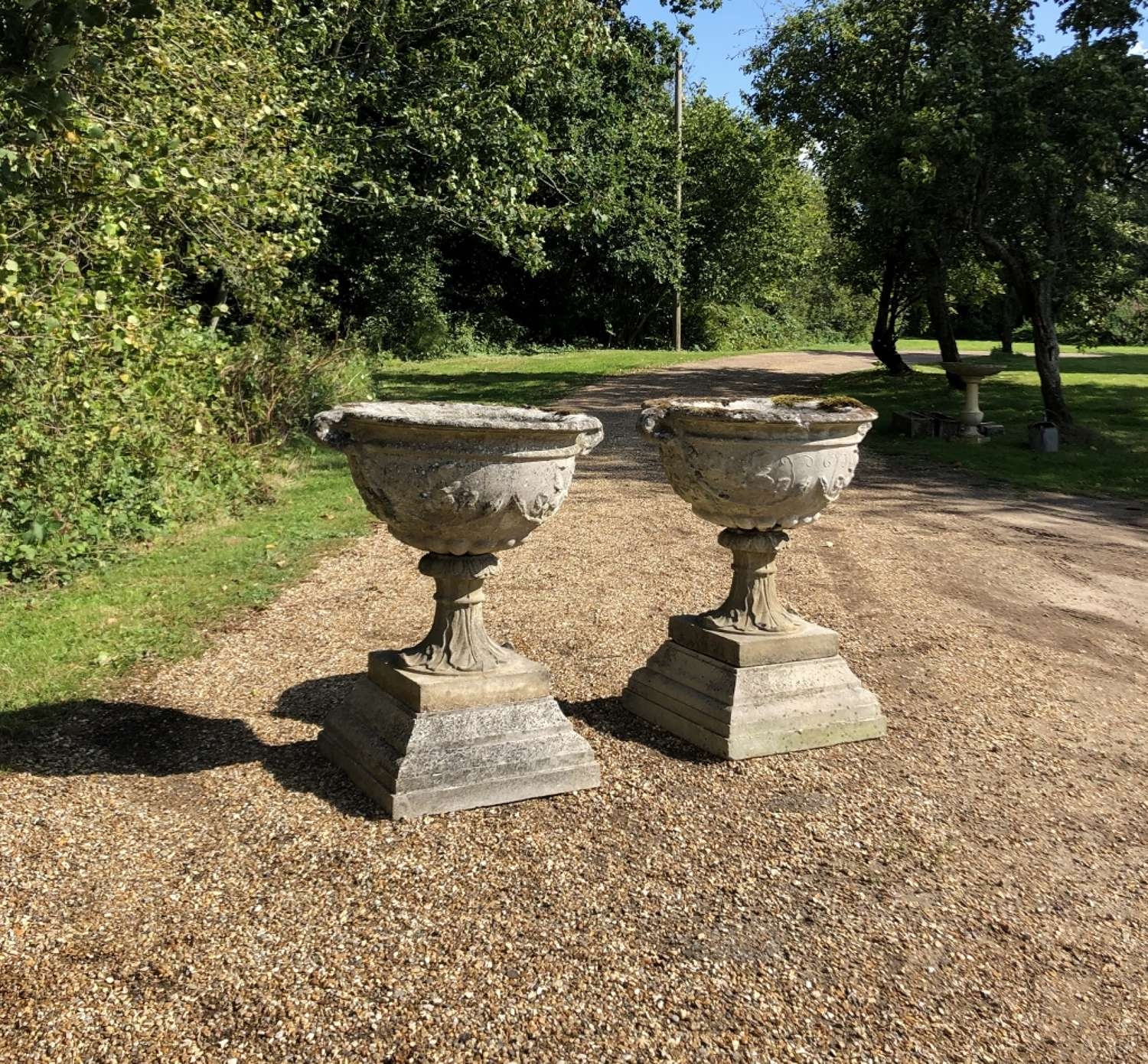 Pair of Large Patinated Bowl Urns