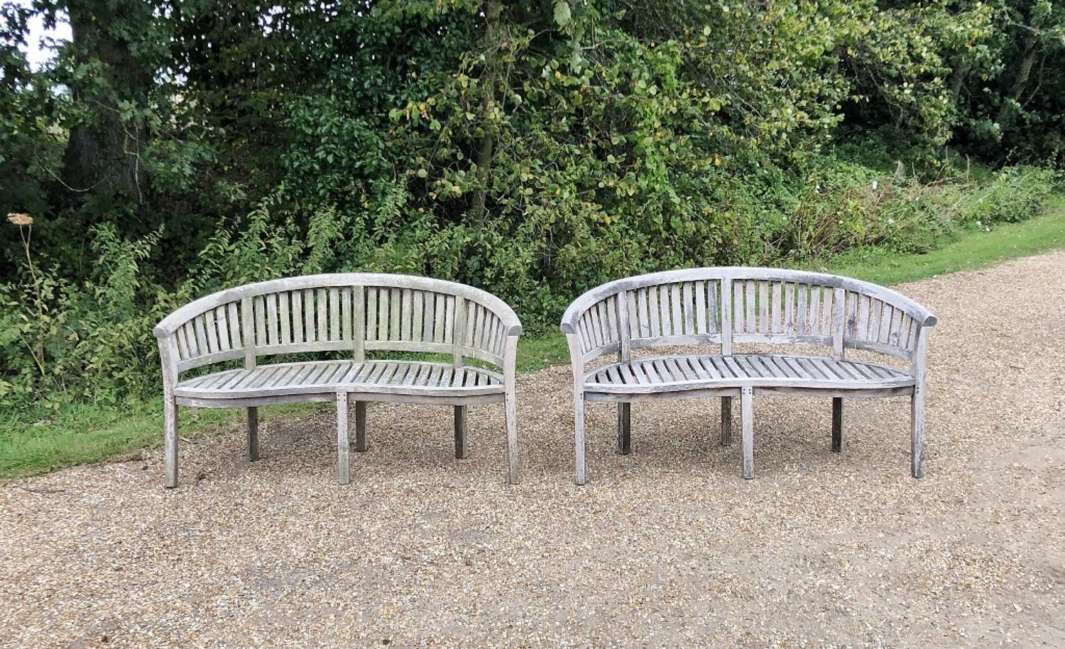 Pair of Silvered Curved Benches