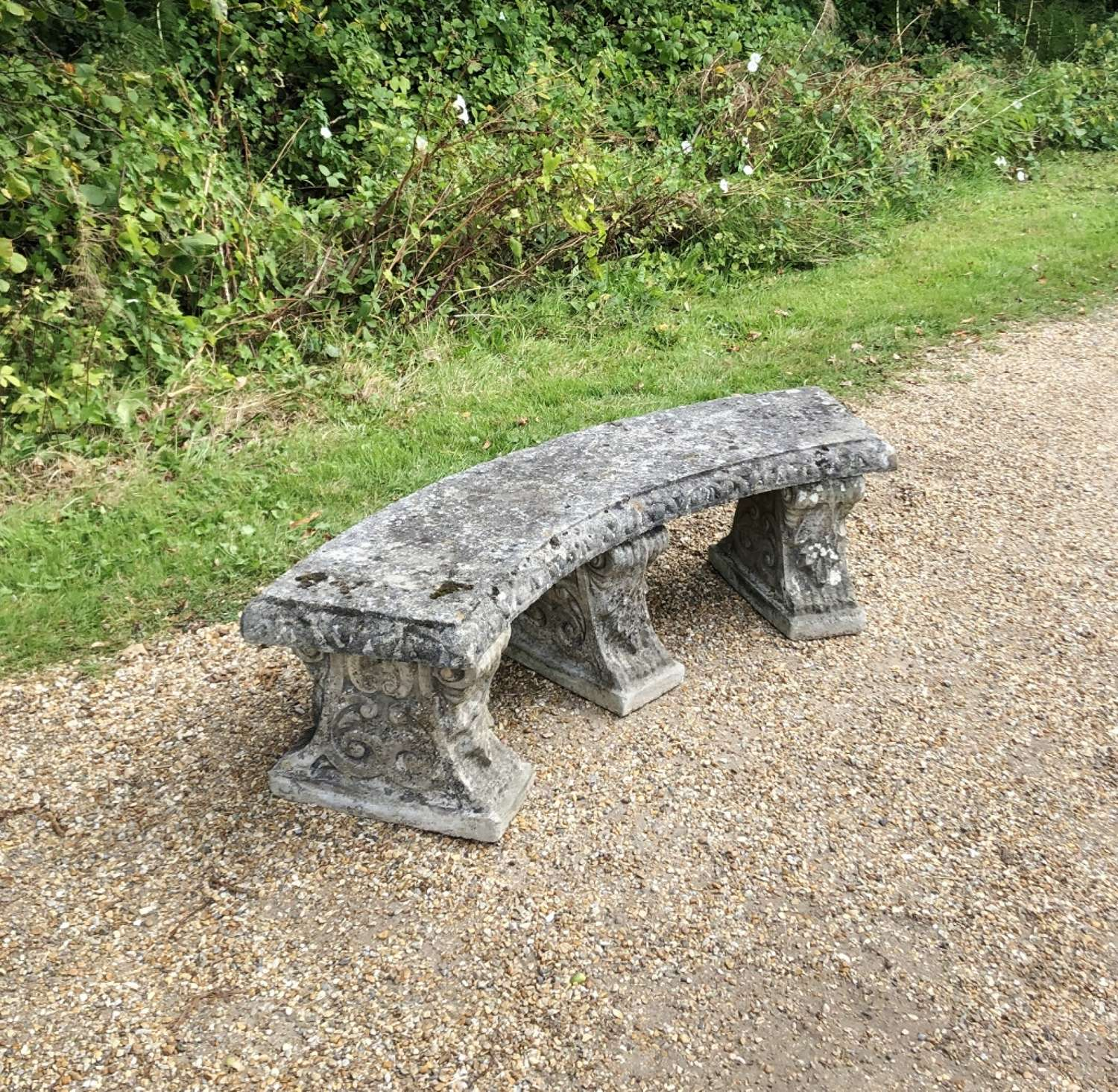 Large Patinated Stone Bench