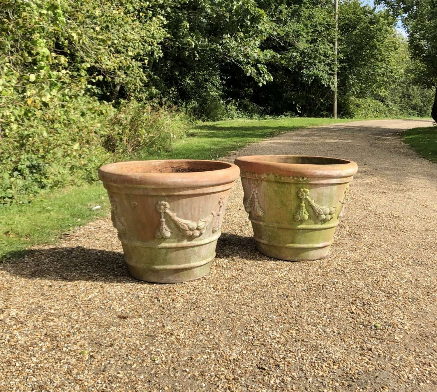 Pair of Large Garland Planters