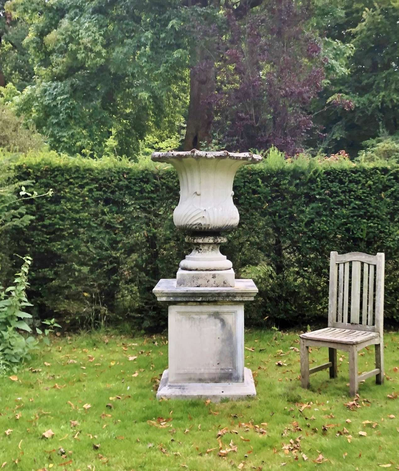 Very Large Fluted Urns with Pedestals