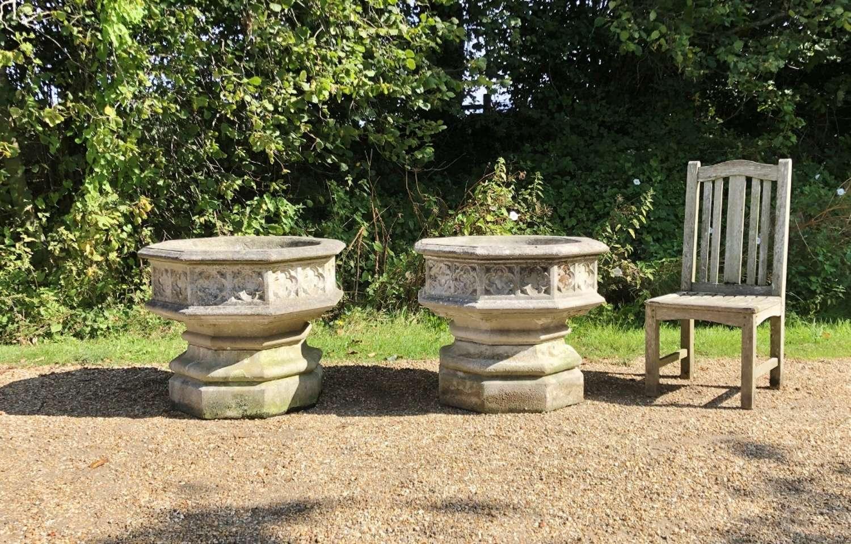 Pair of Large Gothic Jardinieres