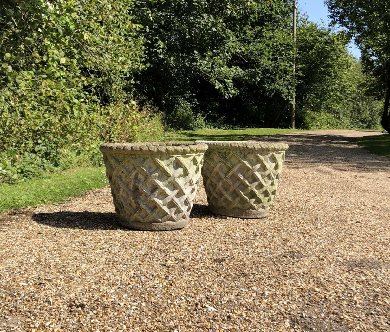Pair of Lattice Weave Planters