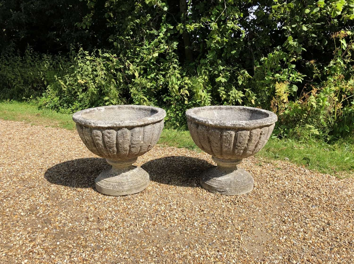Pair of Weathered Bowl Urns