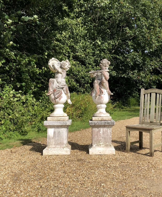 Pair of Musical Cherubs with Pedestals