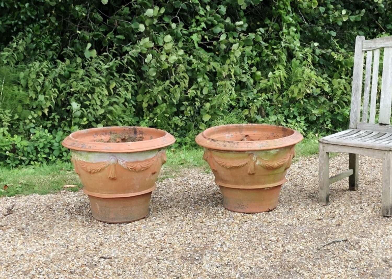 Pair of Terracotta Garland Planters