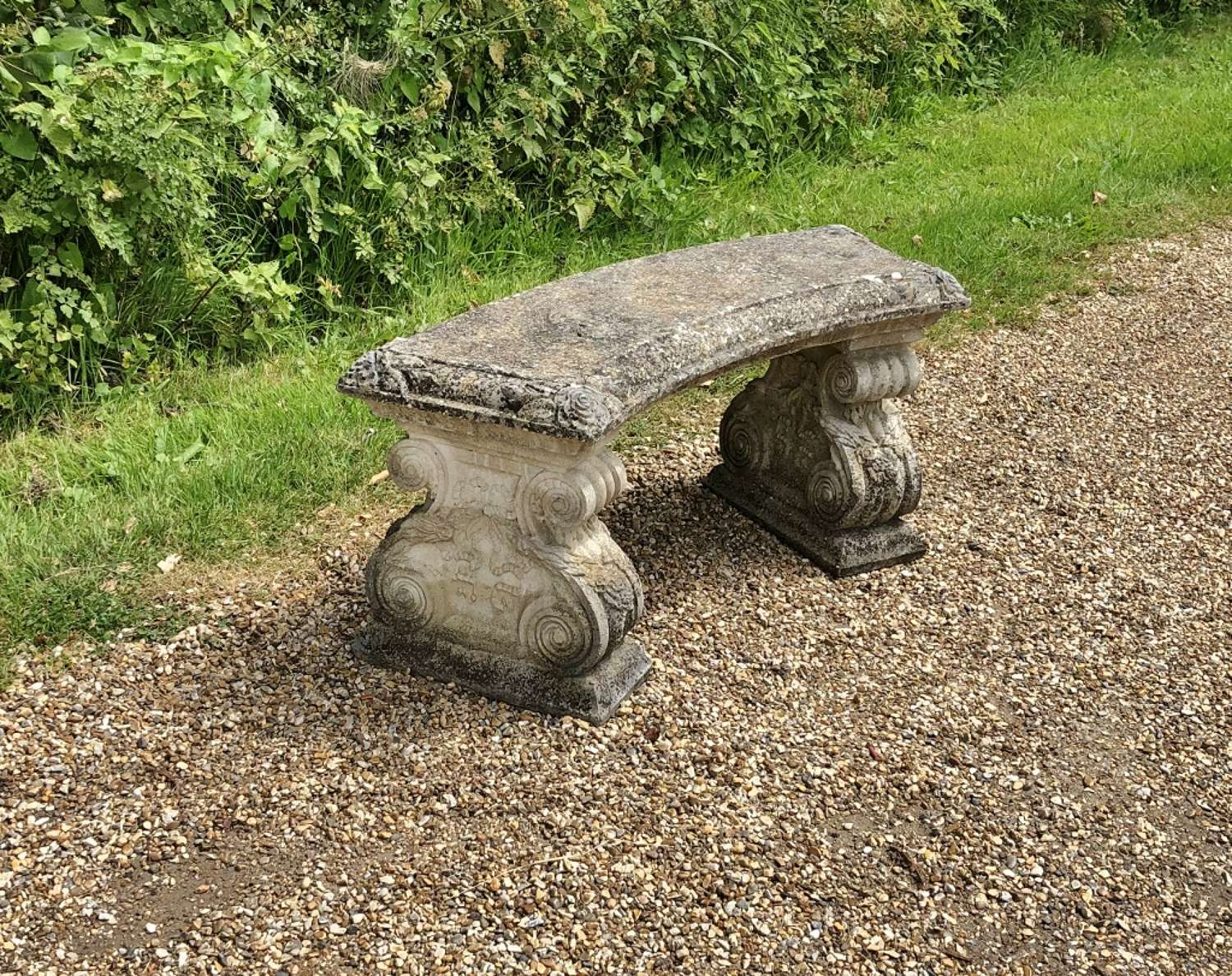 Patinated Stone Bench