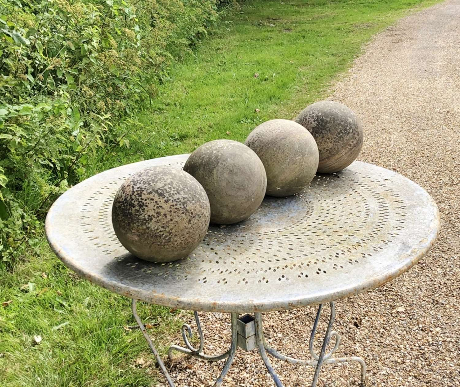 Set of 4 Carved Stone Balls