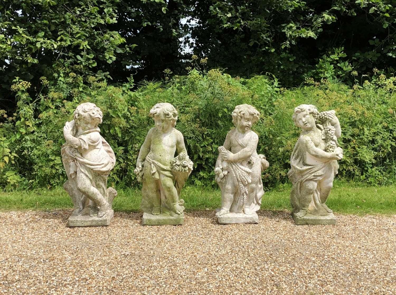 Set of 4 Large Cherub Figures