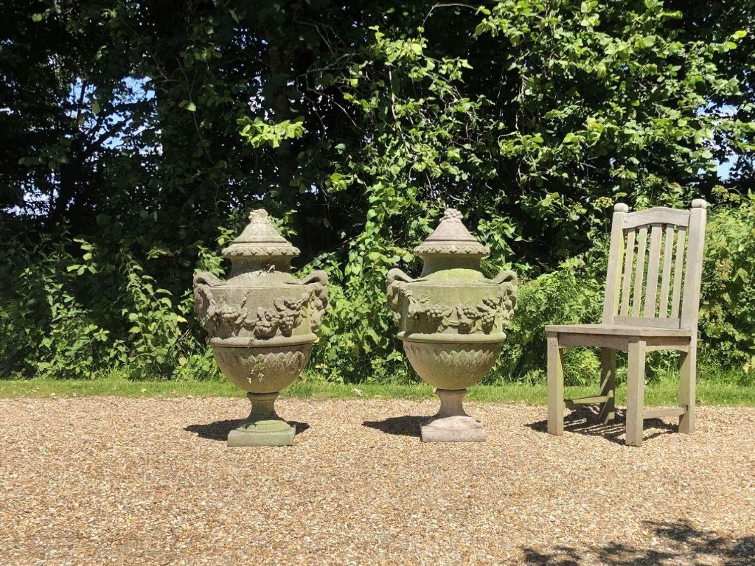 Pair of Large Lidded Urns