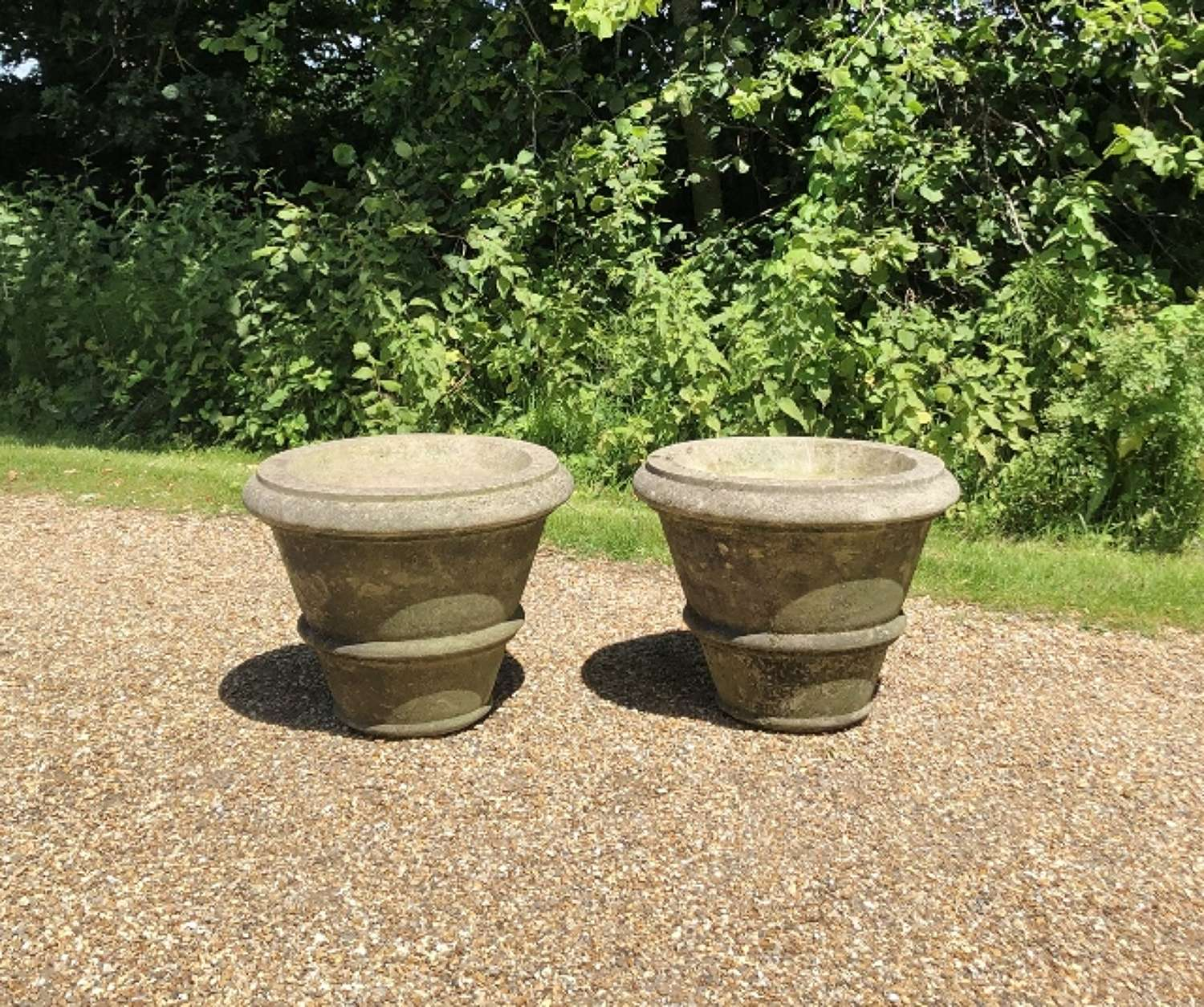 Pair of Simple Weathered Planters