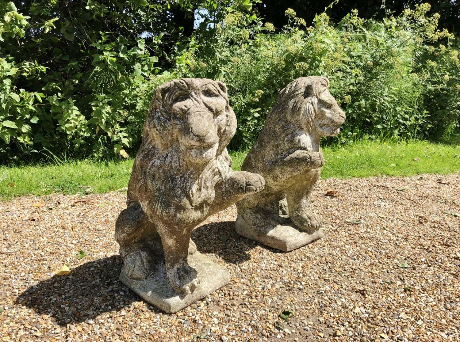 Pair of Weathered Lions