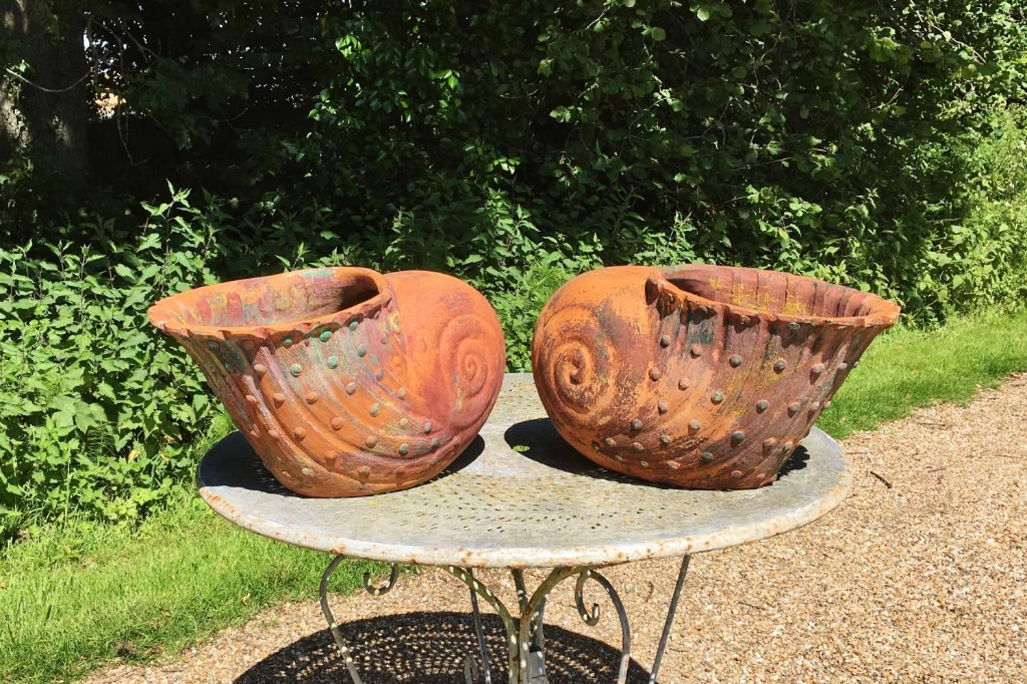 Pair of Terracotta Shell Planters