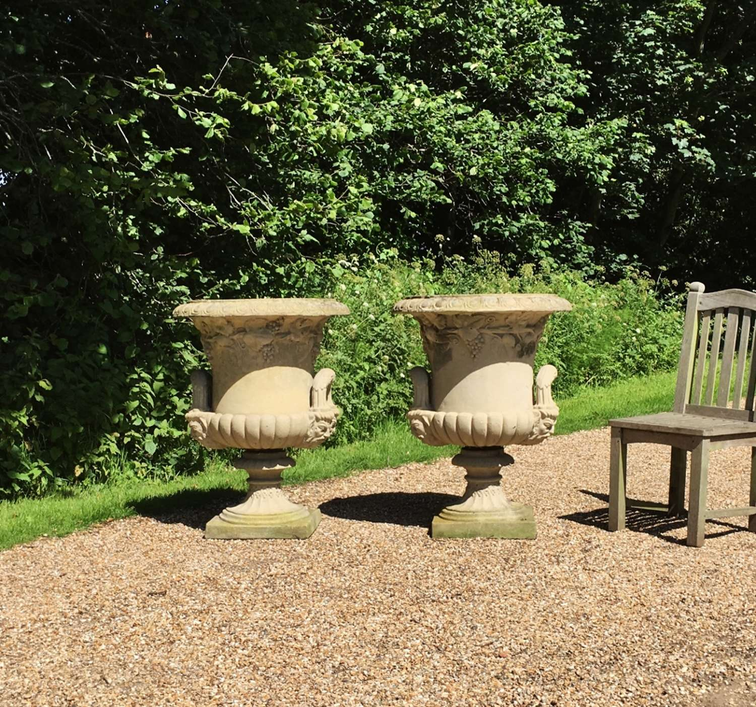 Pair of Very Large Handled Urns