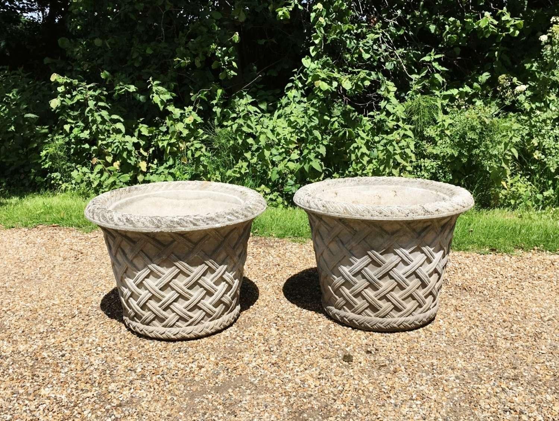 Pair of Large Basket Weave Planters