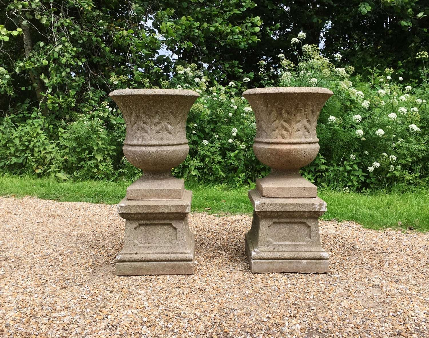 Pair of Small Art Deco Urns with Pedestals