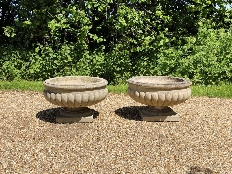 Pair of Lobed Urns