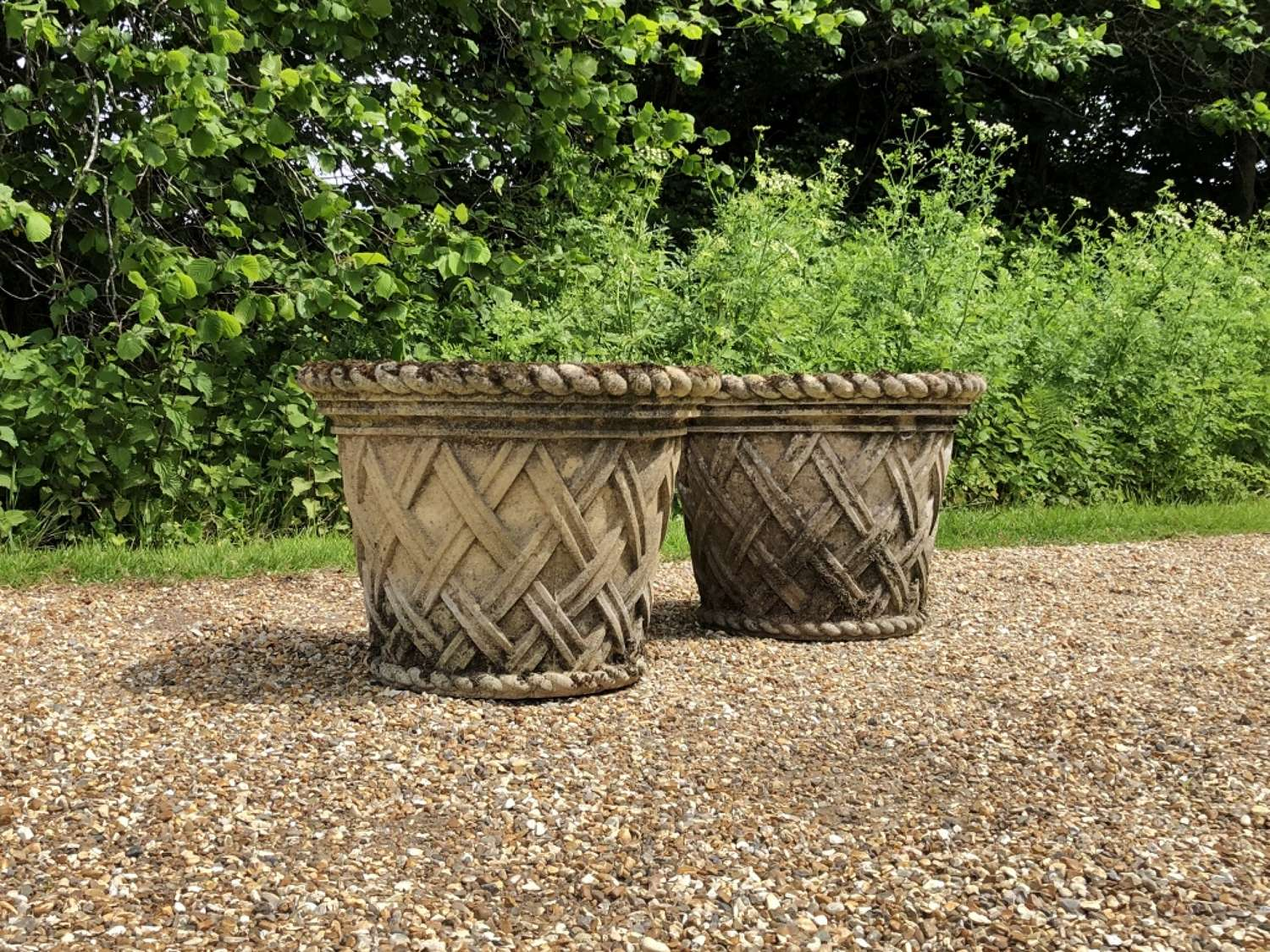 Pair of Patinated Basket Planters