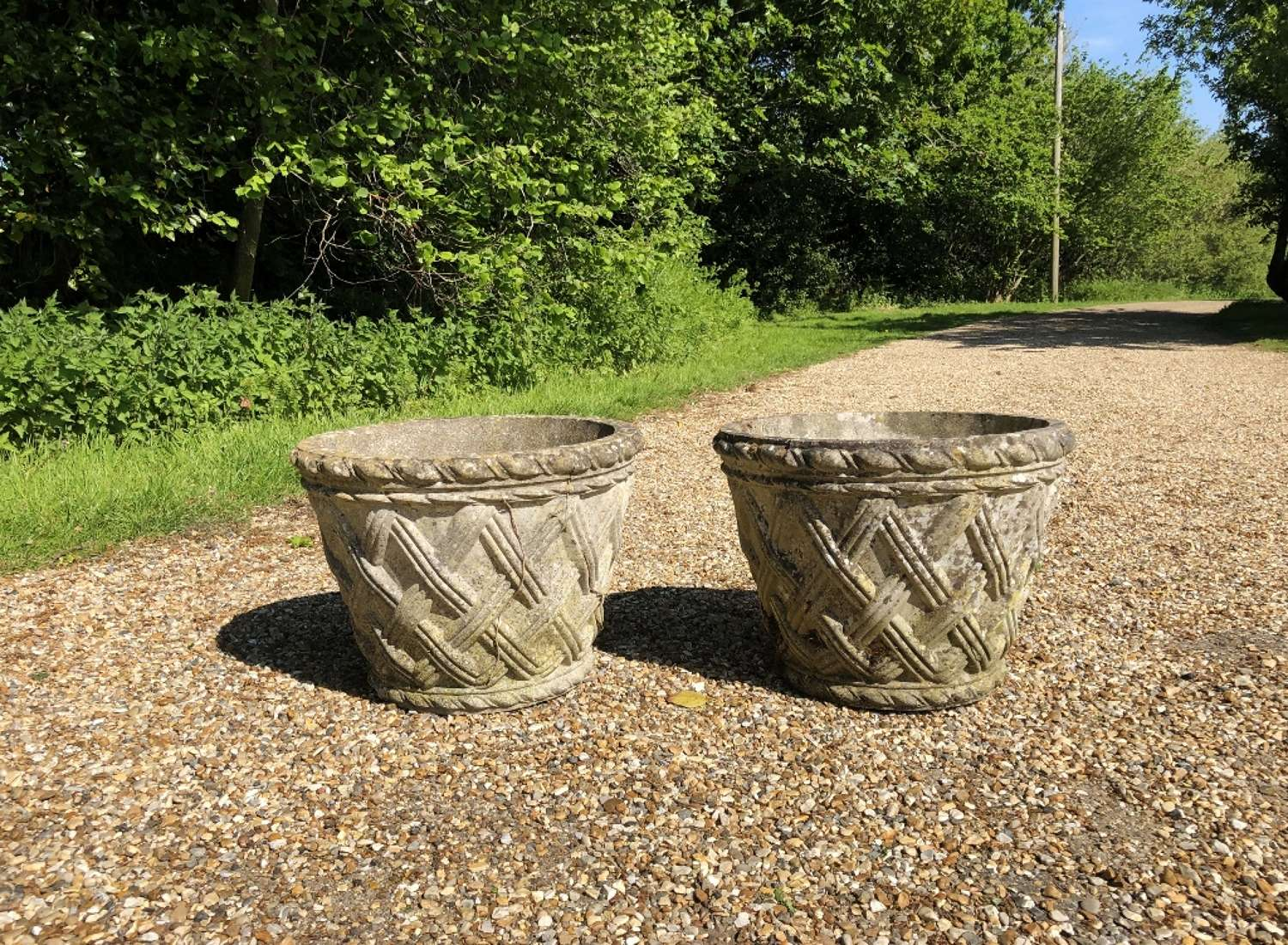 Pair of Small Weathered Basket Planters