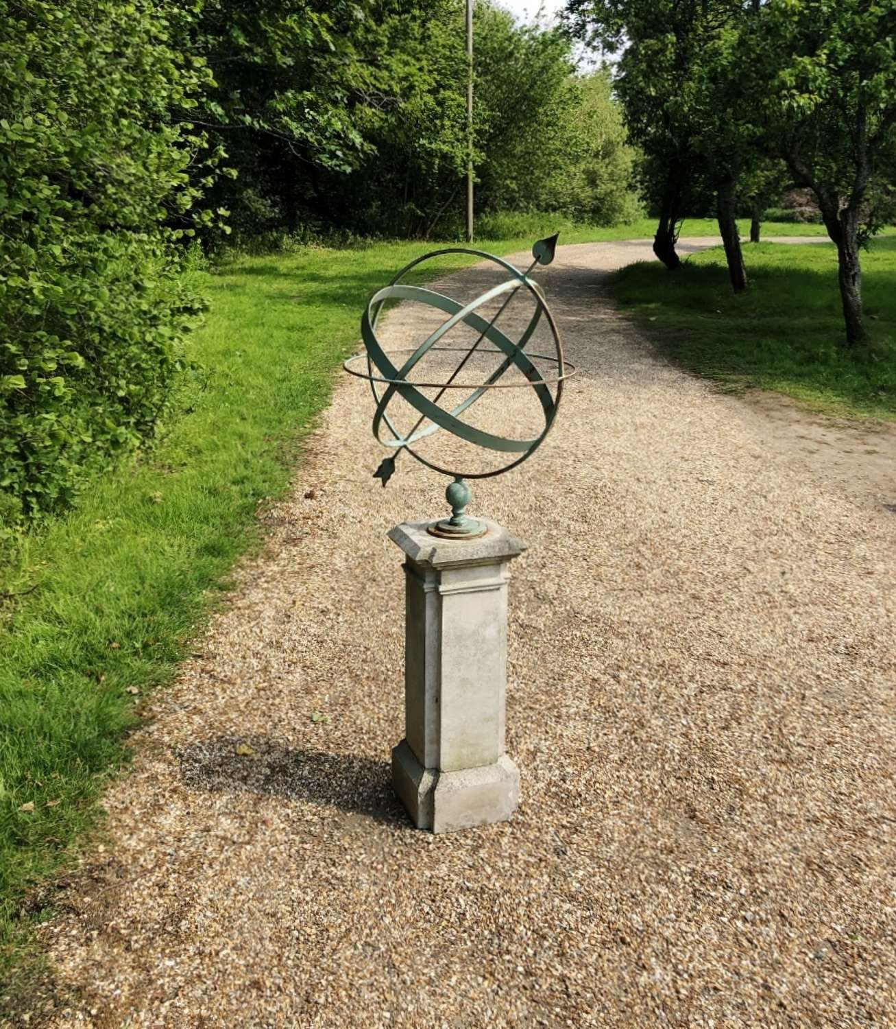Green Iron Armillary on a Simple Base