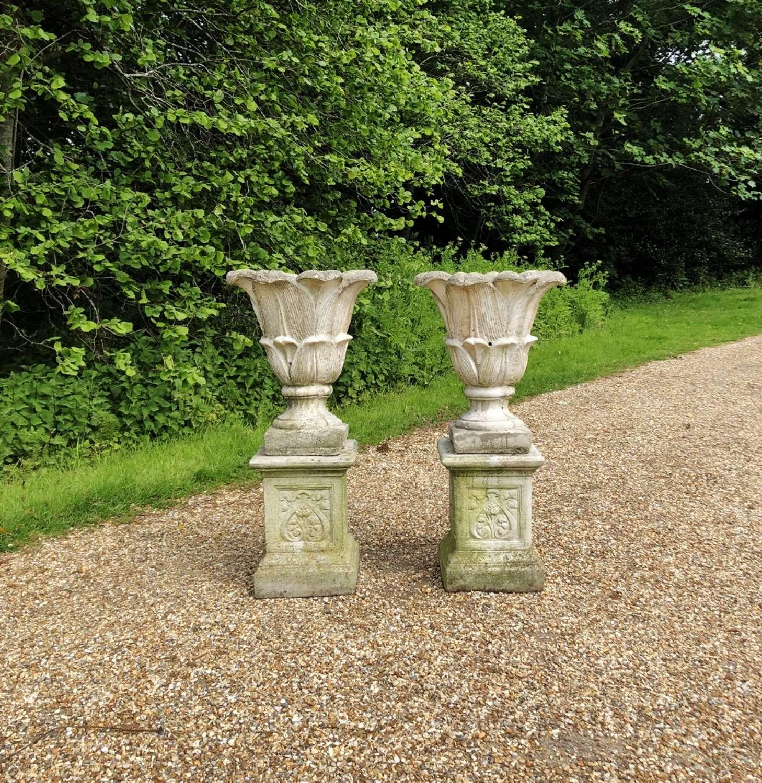Pair of Lotus Urns on Pedestals