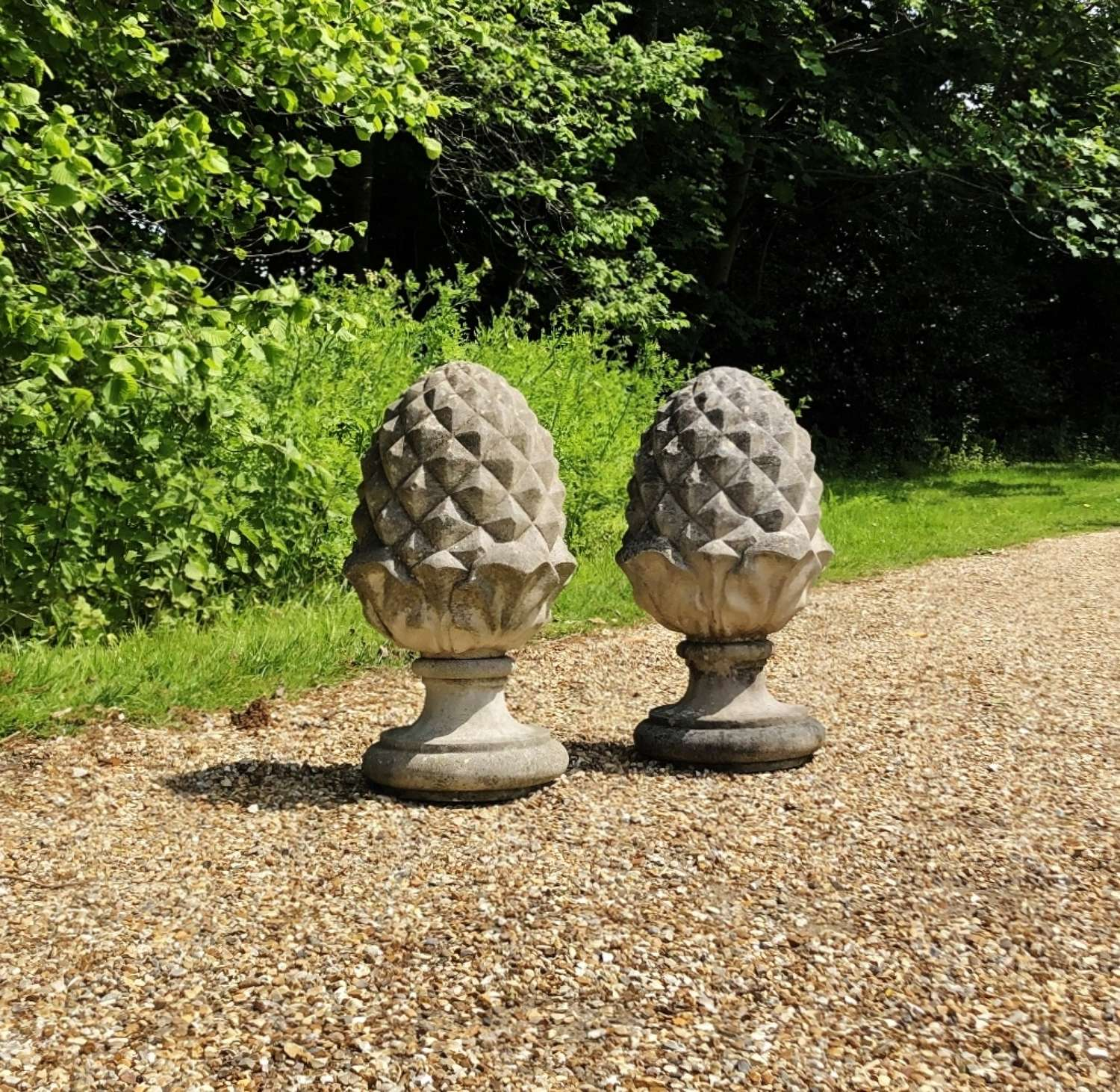 Pair of Weathered Pineapple Finials