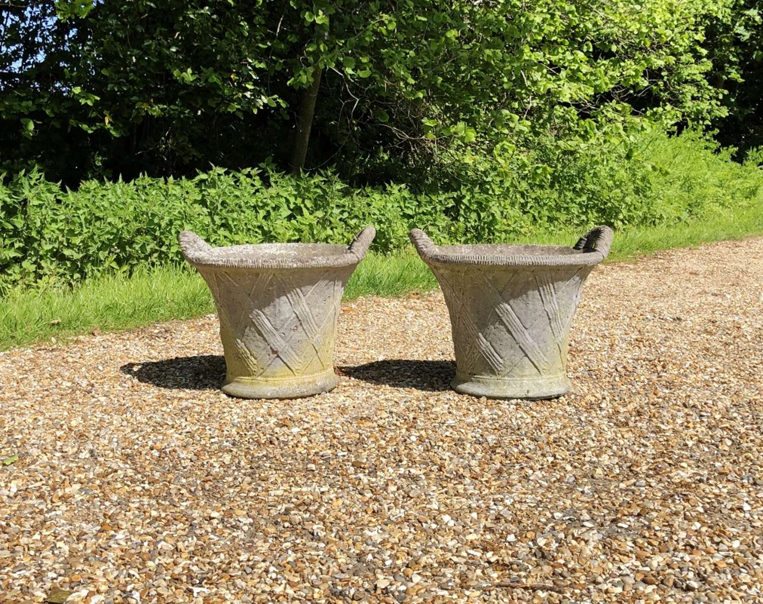 Pair of Small Basket Planters