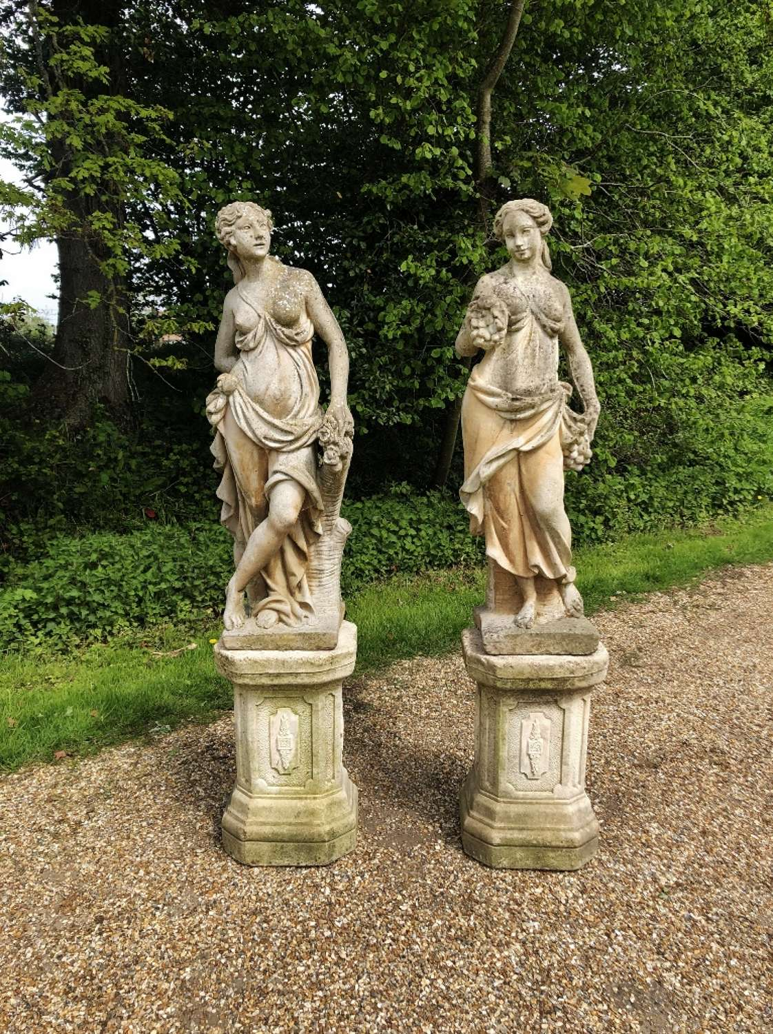 Pair of Maiden Statues