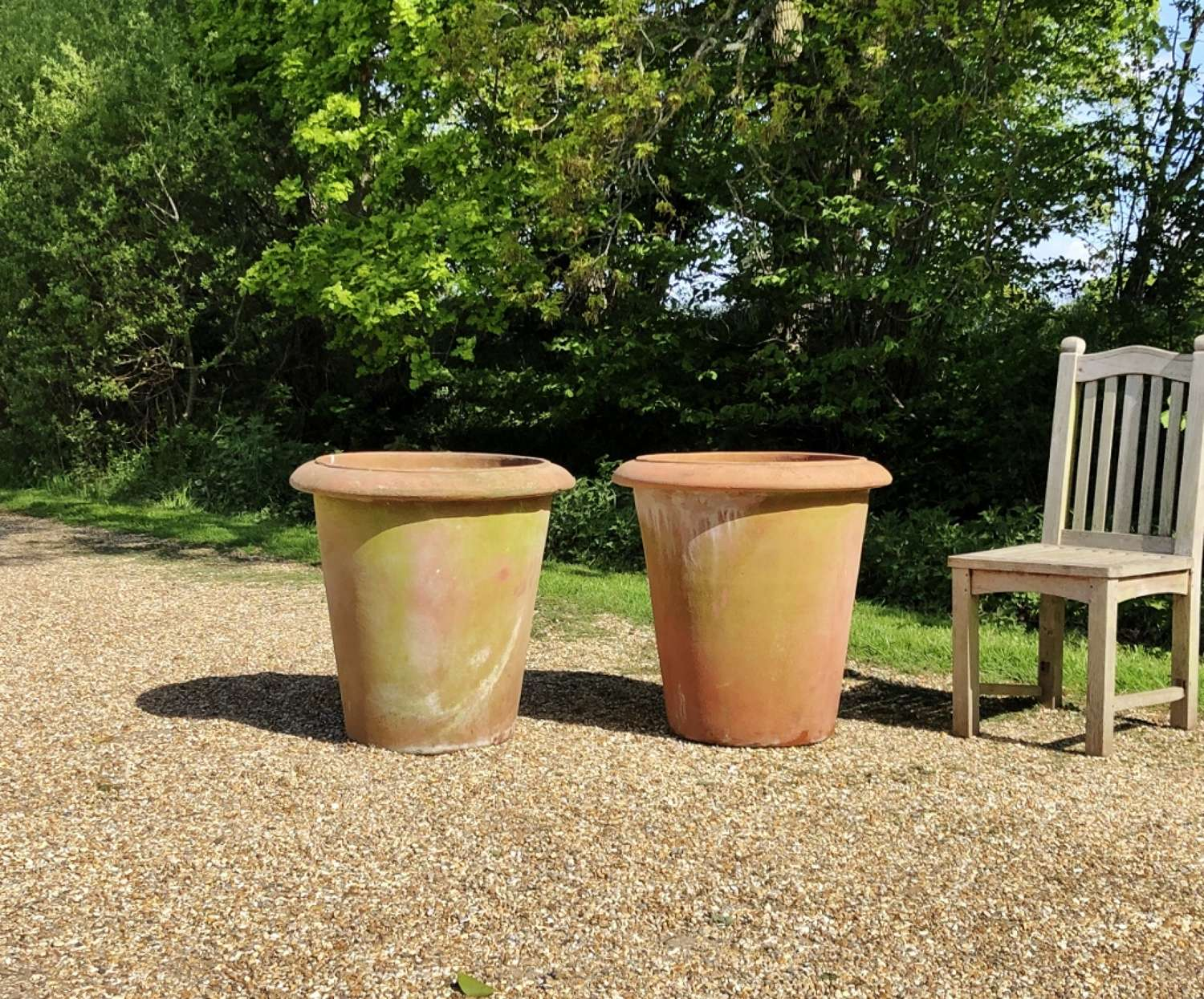 Pair of Large Simple Terracotta Planters