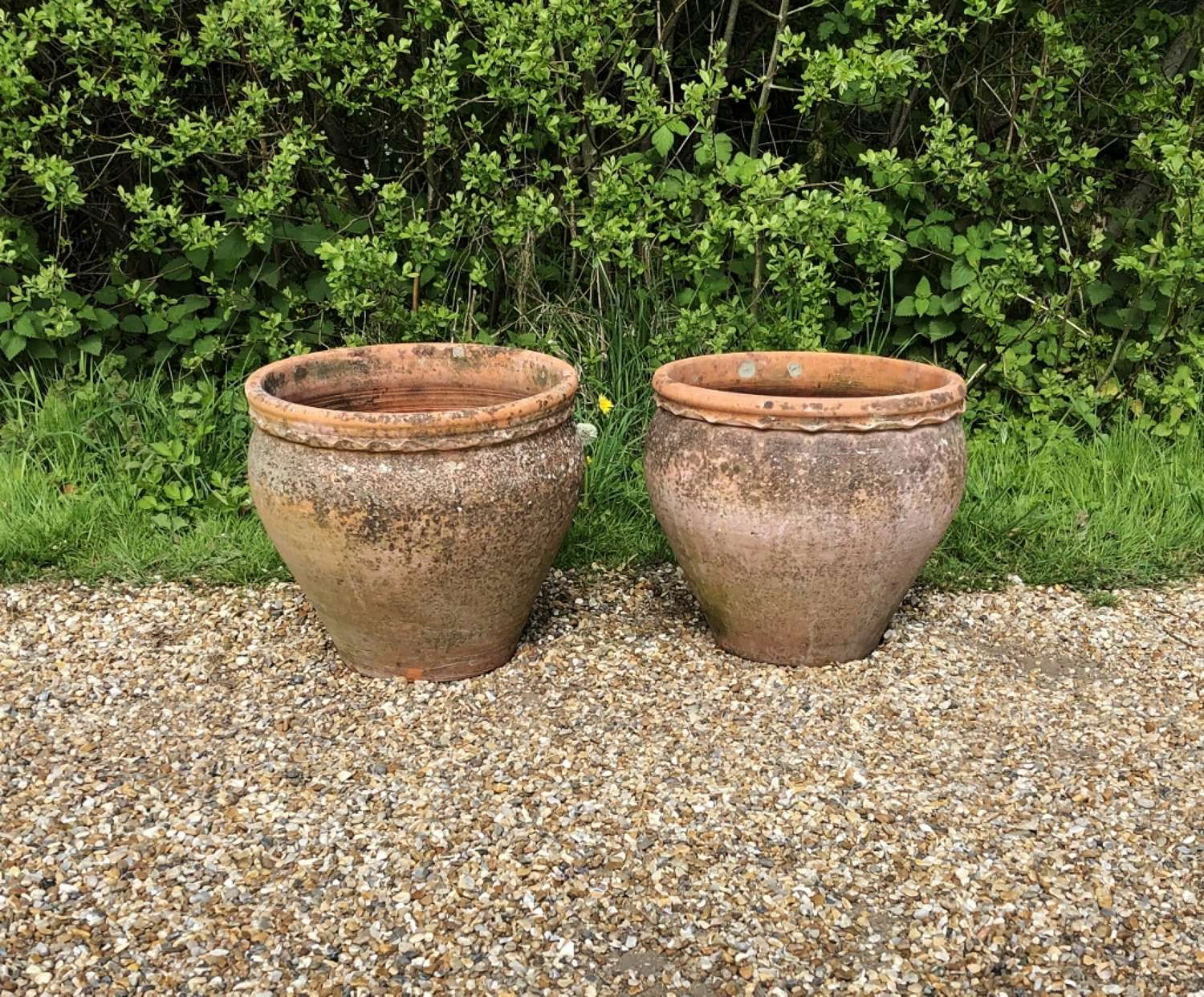 Pair of Patinated Terracotta Planters