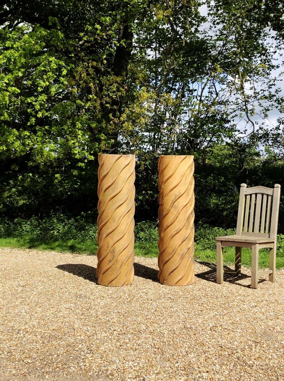 Pair of Large Barley Twist Chimney Pots